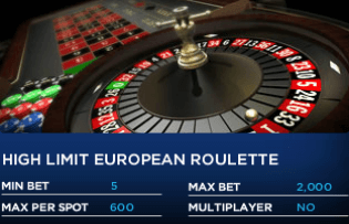 Play high limit European roulette