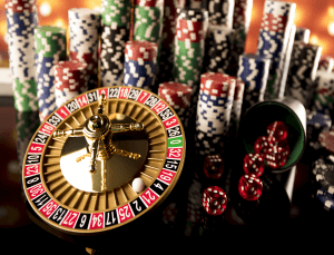 High stakes casino theme with roulette wheel, chips and dice