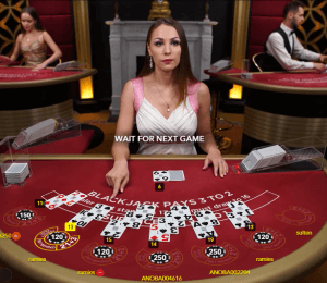 A game of live dealer blackjack