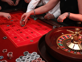 Playing high limit roulette on a red table