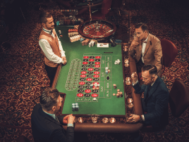 High stakes roulette players in a VIP room of a casino